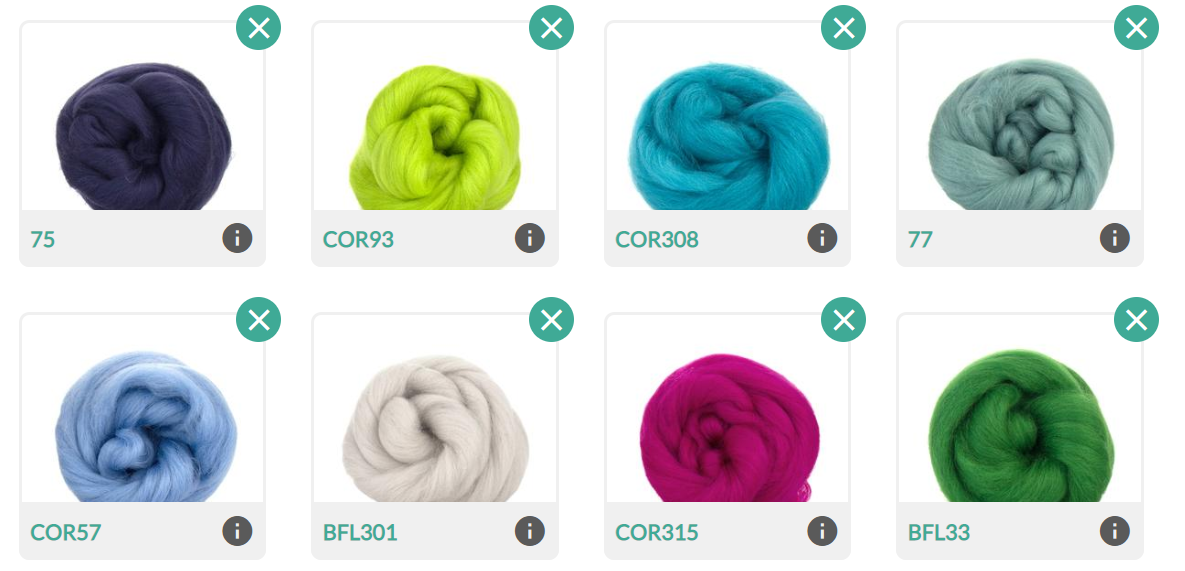 Eight colours of wool: navy, lime green, aqua, dusty teal, light blue, off-white, raspberry pink, and grass green.