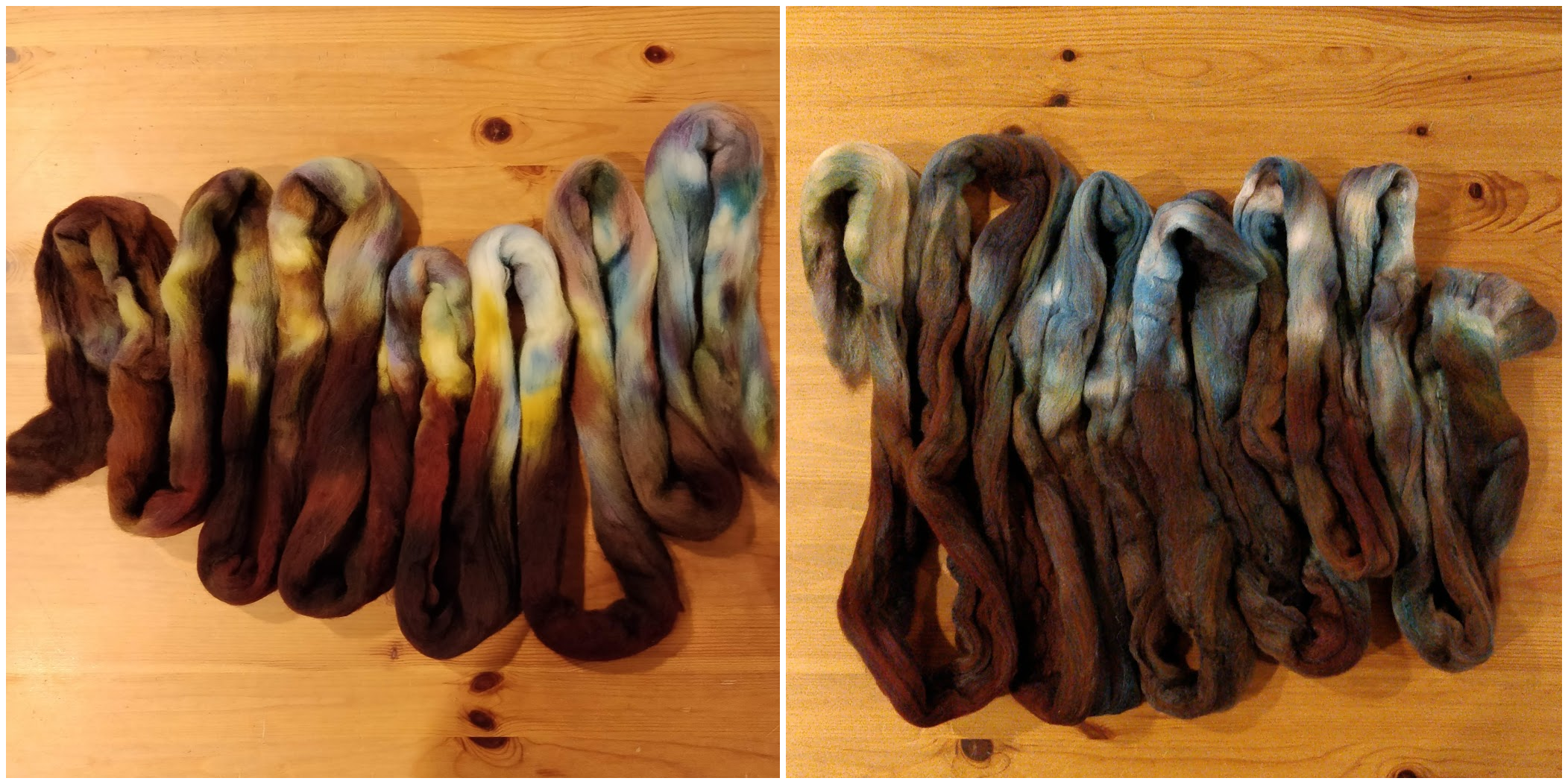 Two pieces of brown and blue fibre folded into S-shapes on a wood tabletop