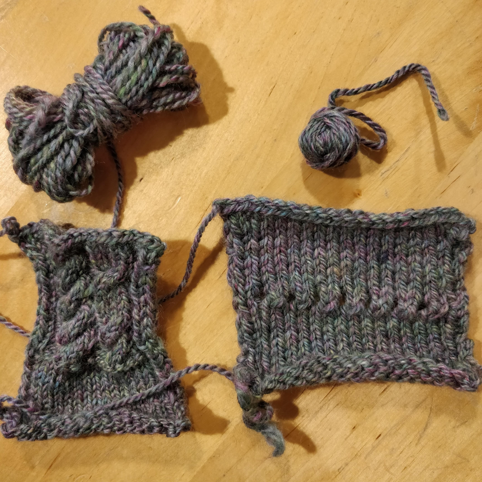 Knit samples and leftover bits of yarn.