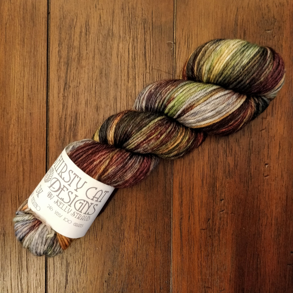 A skein of variegated DK weight yarn.