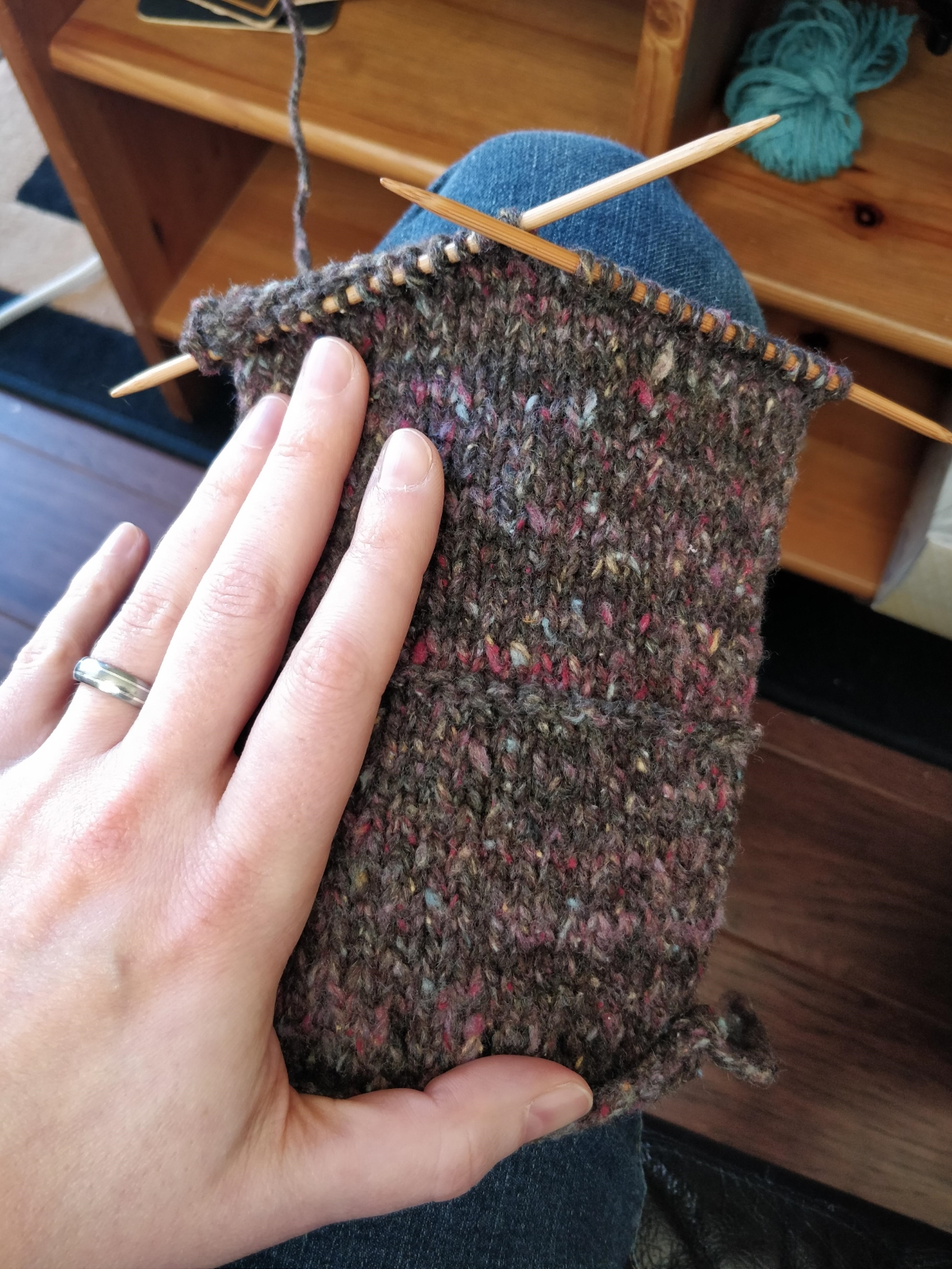 A swatch of tweedy gray yarn