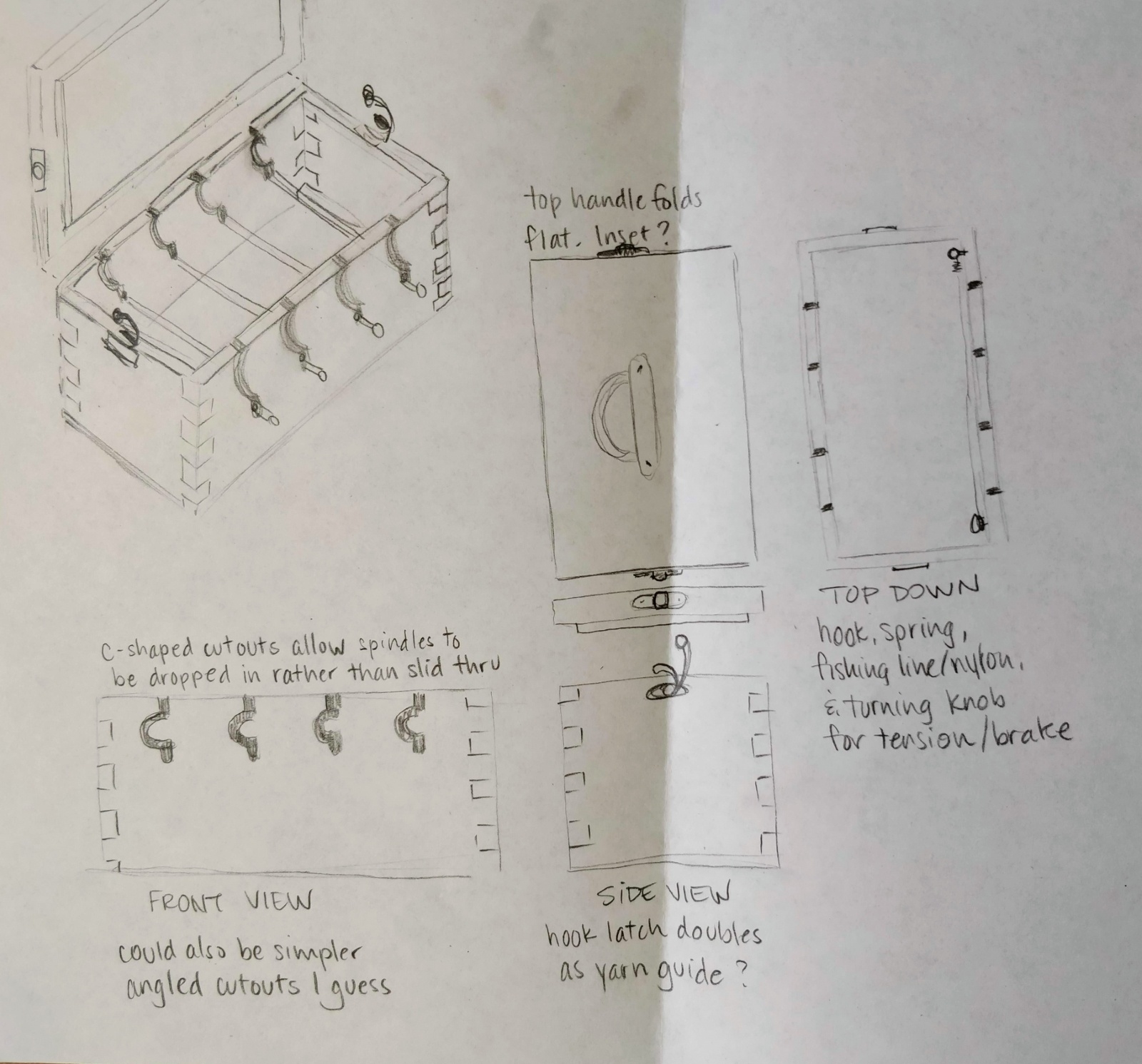 Hand-drawn plans for the construction of a lazy kate.